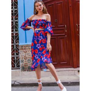 MALLORY THE LABEL Bomba Blue Floral Skirt