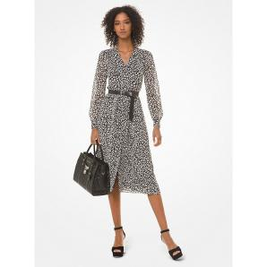 MICHAEL KORS Leopard Georgette Shirtdress MH98Y46DDM
