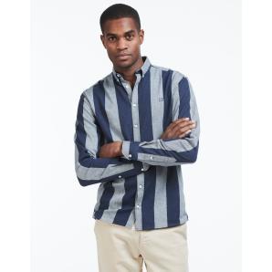 LES DEUX Desert Stripe Shirt - Snow Mel./Navy LDM410027
