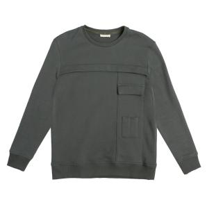 The project garments panelled cotton jersey sweatshirt khaki PGFW214SW1243CO