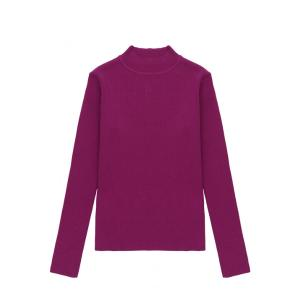 COMPANIA FANTASTICA PINK FITTED RIBBED KNIT JUMPER WITH HIGH NECK FA21SHA06