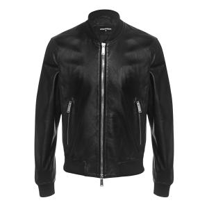 DSQUARED2 Black Blouson leather jacket S74AM0891