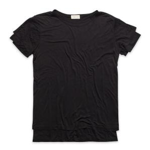 Silk Blend Double Crew Neck T-Shirt Black The Project Garments