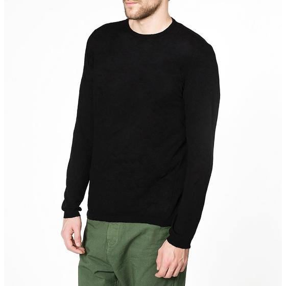 The project garments linen blend crew neck knitted sweater black PGBA2KN1312CL-2