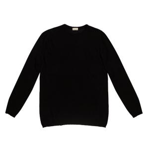 The project garments linen blend crew neck knitted sweater black PGBA2KN1312CL