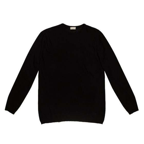 The project garments linen blend crew neck knitted sweater black PGBA2KN1312CL-0