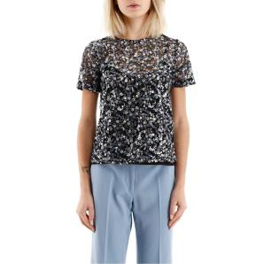 MICHAEL KORS Sheer t-shirt with floral sequins