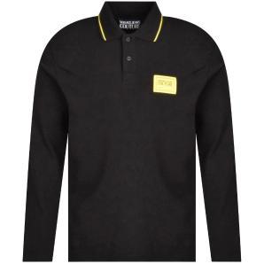 VERSACE JEANS Black Piqué Polo Shirt 71GAGT07
