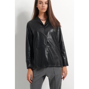 BLACK & BLACK leather look shirt W21B6040