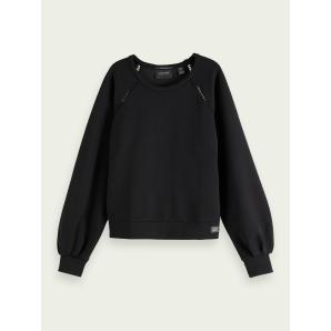 SCOTCH & SODA Cropped crewneck sweater with ladder detail 159321