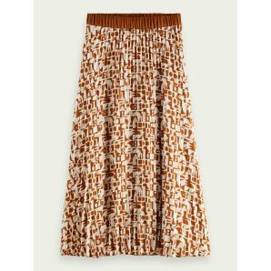 SCOTCH & SODA Printed plisse midi skirt 162235