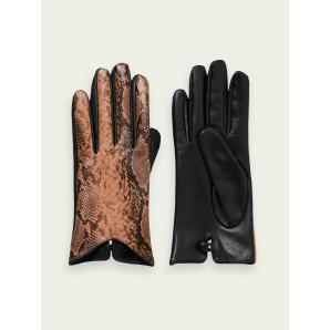 SCOTCH & SODA Snake-effect leather gloves 159373