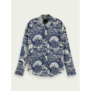 SCOTCH & SODA Oversized cotton-modal blend print shirt 159911