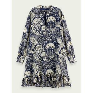 SCOTCH & SODA Long sleeved V-neck print dress 159991