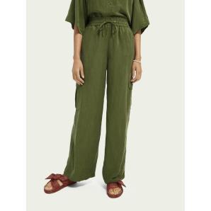 SCOTCH & SODA Wide-leg mid-rise linen-blend cargo trousers 161577
