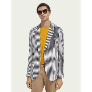 SCOTCH & SODA Striped single-breasted organic cotton piqué blazer 160682