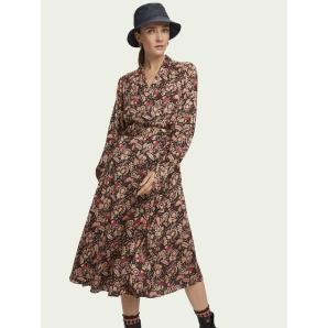 SCOTCH & SODA Floral print belted midi wrap dress 158972