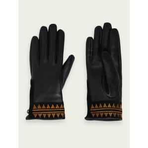 SCOTCH & SODA Embroidered leather gloves 159482