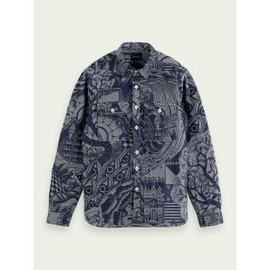 SCOTCH & SODA Cotton-blend jacquard shirt jacket 159560