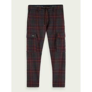 SCOTCH & SODA Wool-blend check ankle length cargo pants 158352