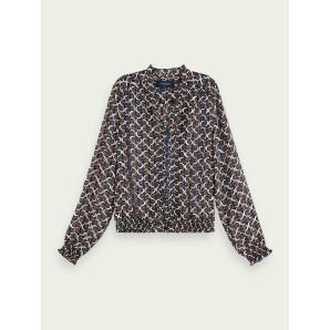 SCOTCH & SODA Printed long sleeve ruffle neckline top 157016