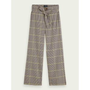 SCOTCH & SODA Wide-leg high-rise checked pants 156933