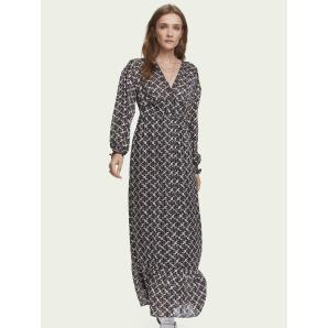 SCOTCH & SODA Sheer printed long sleeve V-neck maxi dress 157118