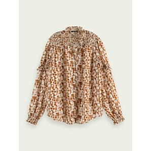 SCOTCH & SODA Printed sheer shirt 162233