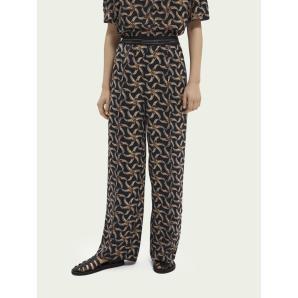 SCOTCH & SODA Printed elastic waist wide-leg trousers 161568