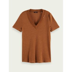 SCOTCH & SODA Linen-recycled polyester blend V-neck T-shirt 159949