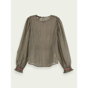 SCOTCH & SODA Sheer long sleeve houndstooth top 158927