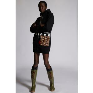 DSQUARED2 Icon Sweater Dress With Leopard Pocket S80CT0010