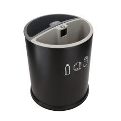 Στρογγυλό Καλάθι απορριμάτων για ανακύκλωση με δύο δοχεία JVD Corbeille 8991229, γαλβανισμένος χάλυβας, μαύρο