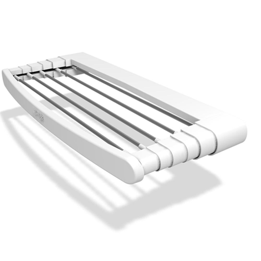 Πτυσσόμενη απλώστρα ρούχων GIMI Telepack 70 σε λευκό χρώμα από πλαστικό και βέργες αλουμινιου, 6 x 70 x 38 cm (ανοικτή)