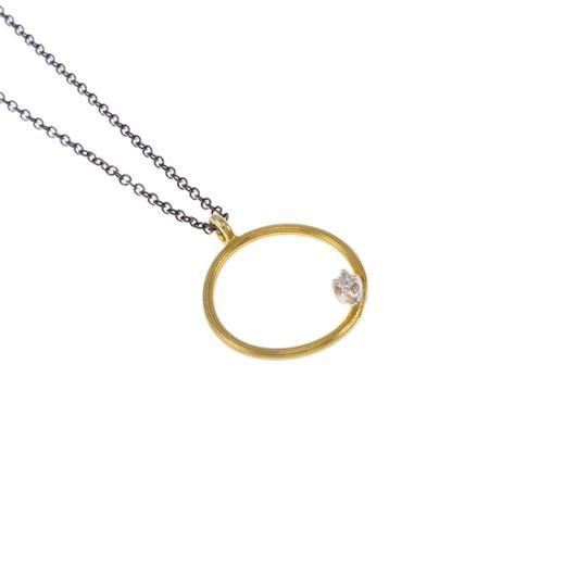 """Μενταγιόν """"CYCLE""""  σε κίτρινο  χρυσό 14ΚΤ με ζιργκόν."""