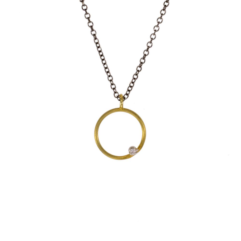 """Μενταγιόν """"CYCLE""""  σε κίτρινο 14ΚΤ χρυσό με ζιργκόν."""