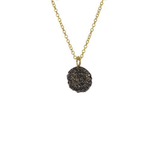 """Μενταγιόν """"LAVA"""" σε κίτρινο χρυσό 14ΚΤ  με μαύρη επιροδιωμένη επιφάνεια."""