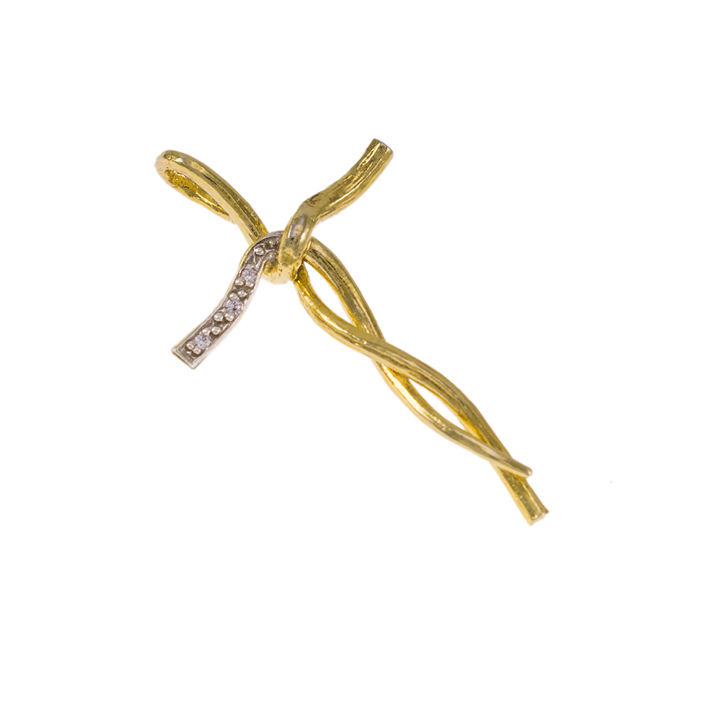 """Σταυρός """"RIBBON"""" σε κίτρινο χρυσό 14Κ με ζιργκόν."""