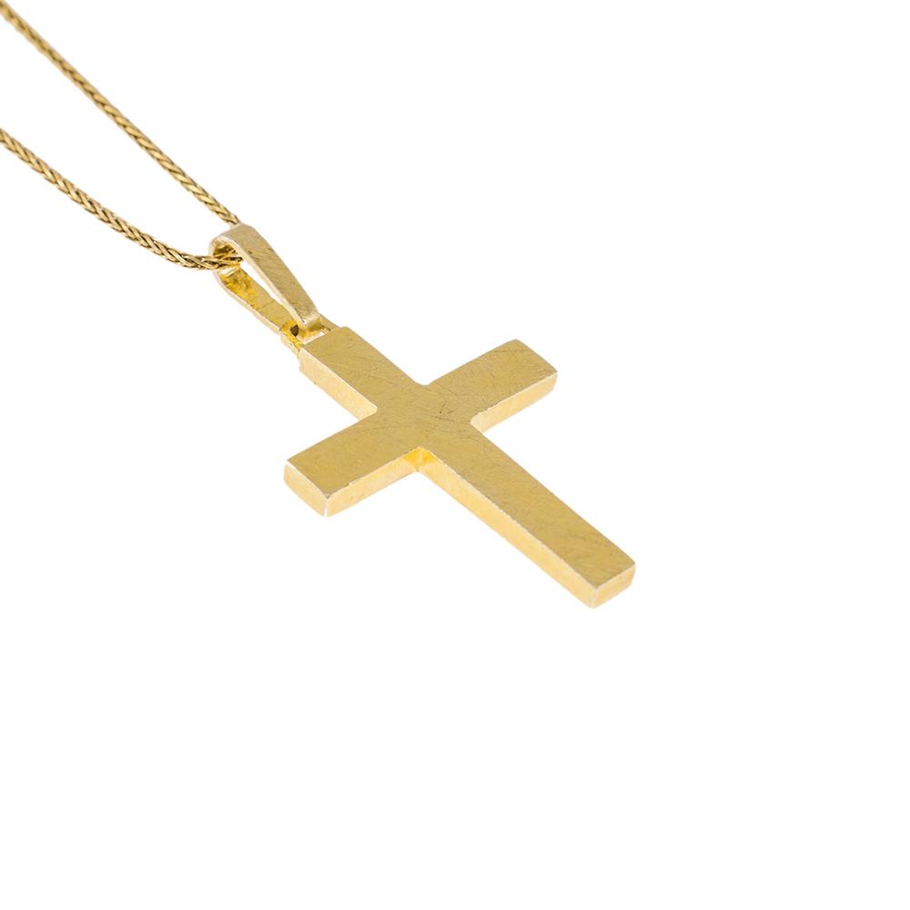 Σταυρός λεπτός  ματ  σε κίτρινο χρυσό 14 ΚΤ