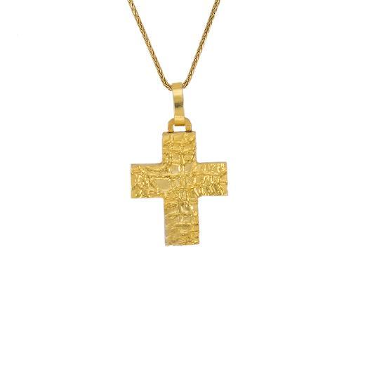 """Σταυρός """"STONE"""" σε κίτρινο χρυσό 14ΚΤ."""