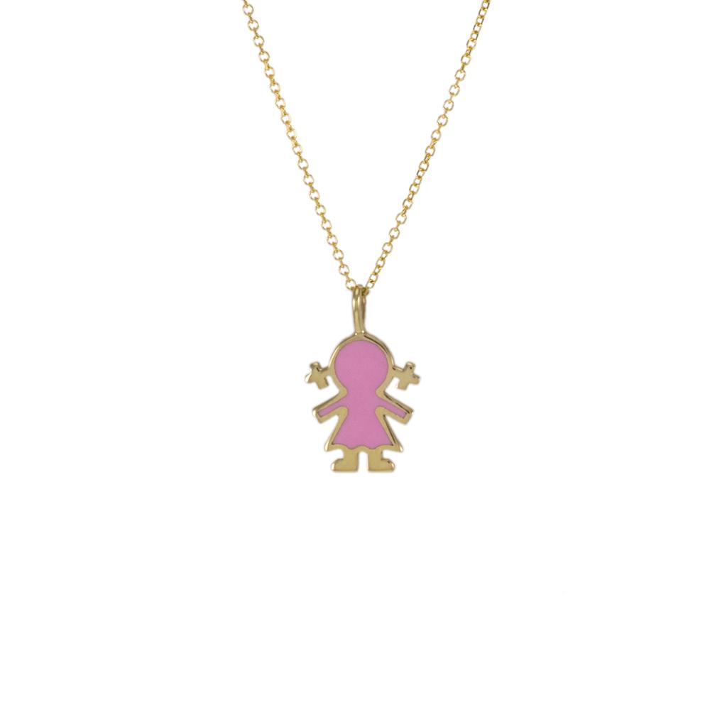 Μενταγιόν κοριτσάκι με ροζ σμάλτο σε κίτρινο 14ΚΤ χρυσό.