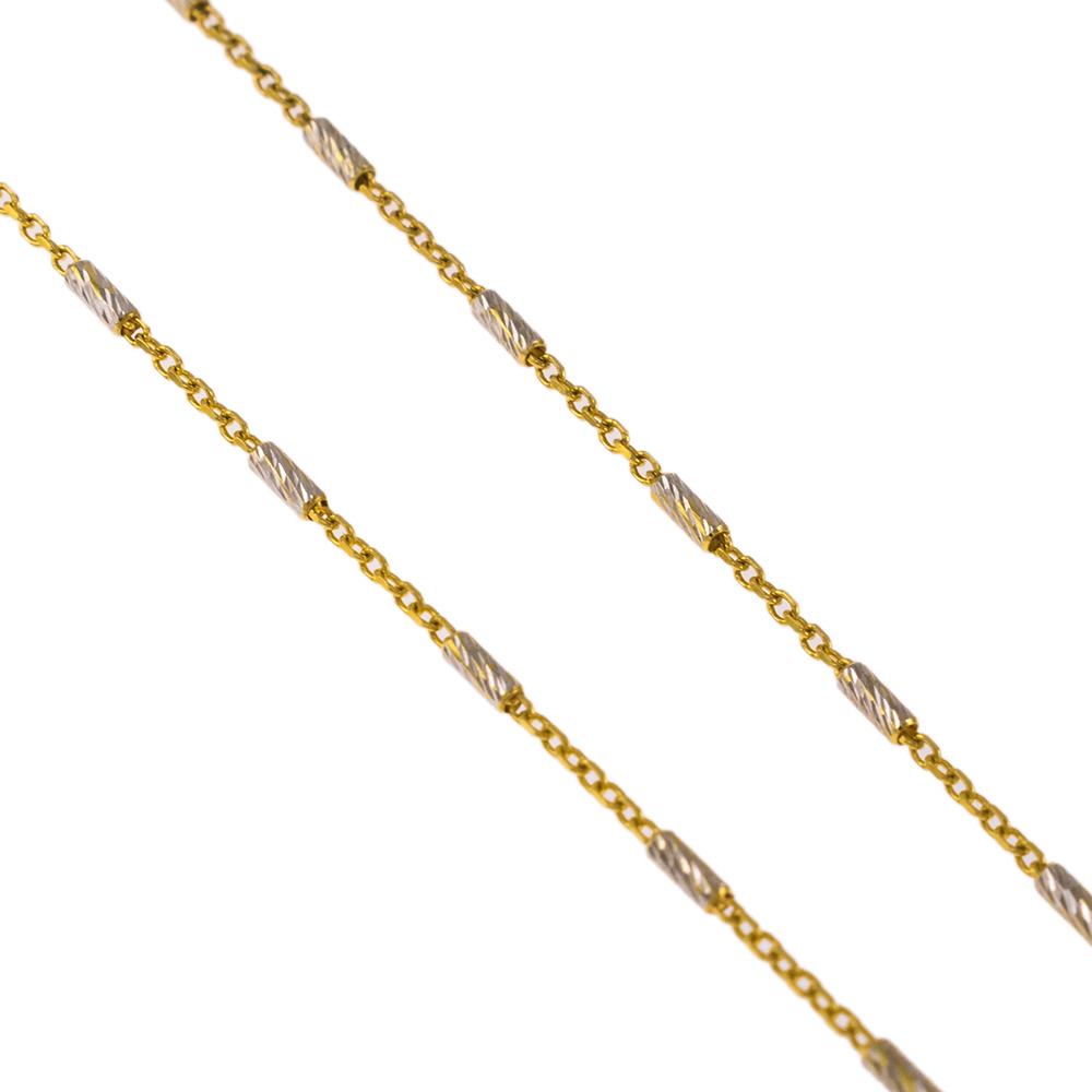 Αλυσίδα  με δύο χρώματα λευκό και χρυσο 14ΚΤ