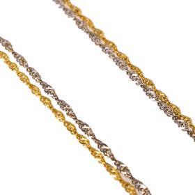 Αλυσίδα σιγκαπούρη στριφτή διπλή σε χρυσό και λευκό χρυσό 14 ΚΤ.