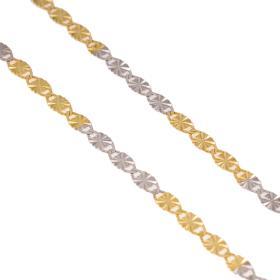 Αλυσίδα οβάλ σφυρήλατη σε χρυσό και λευκό χρύσο 14ΚΤ.