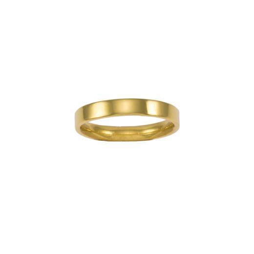 Βέρα  τετραγωνισμένη λεπτή   λουστρέ σε κίτρινο χρυσό 14ΚΤ.    BE001987