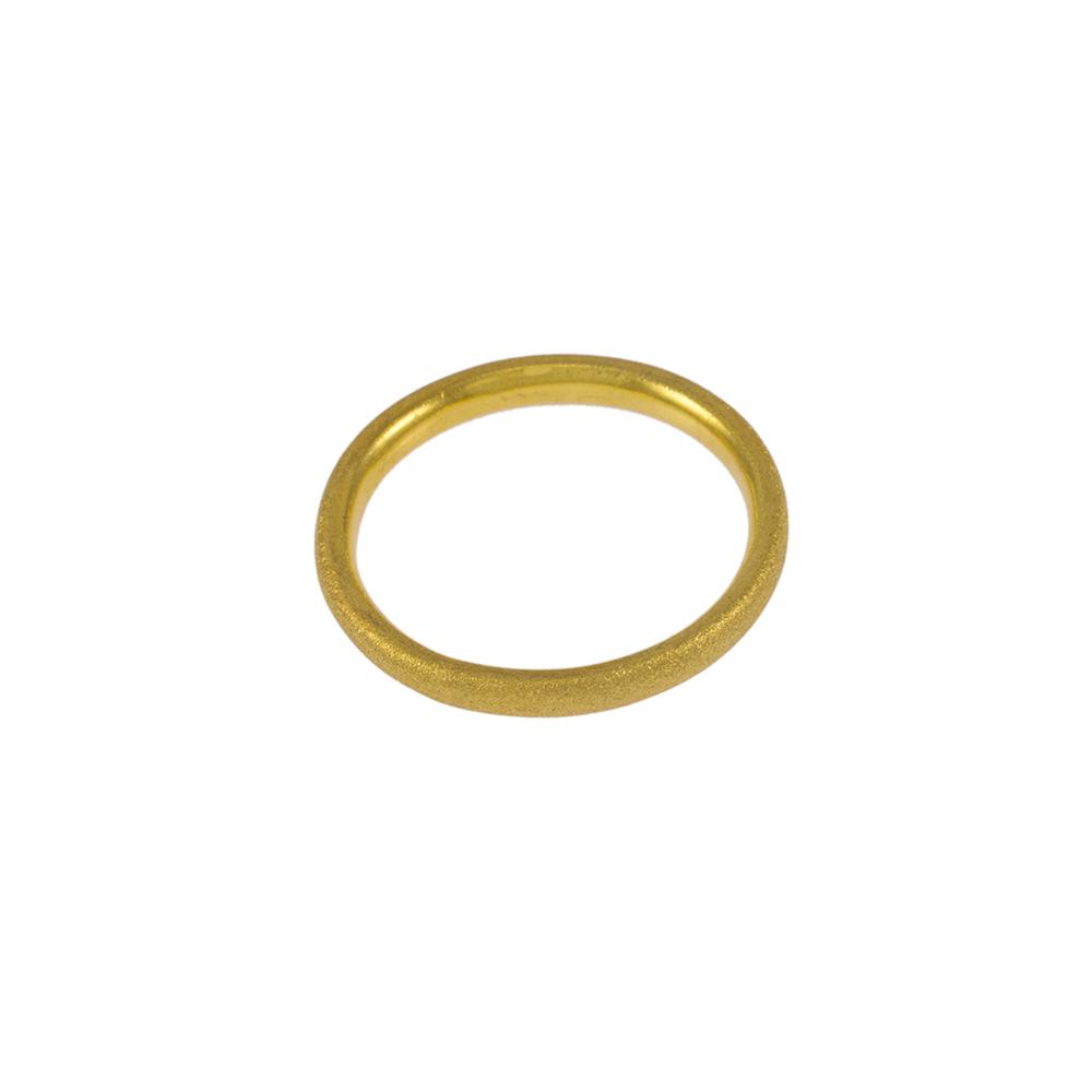 Βέρα στρογγυλή σε κίτρινο χρυσό ματ 14ΚΤ .    BE001989