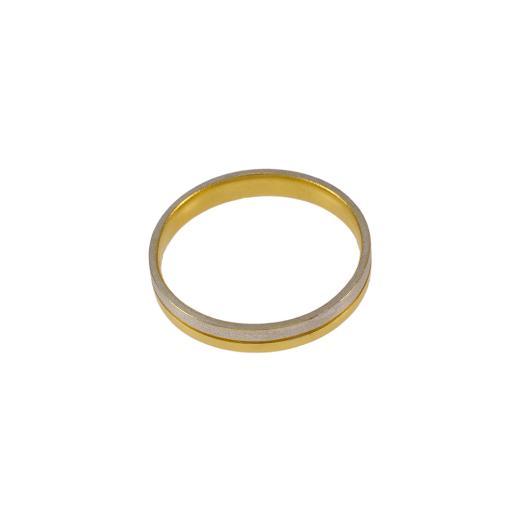 Βέρα  διπλή , ματ λευκό χρυσό και κίτρινο λουστρέ   χρυσό 14ΚΤ    DA001995