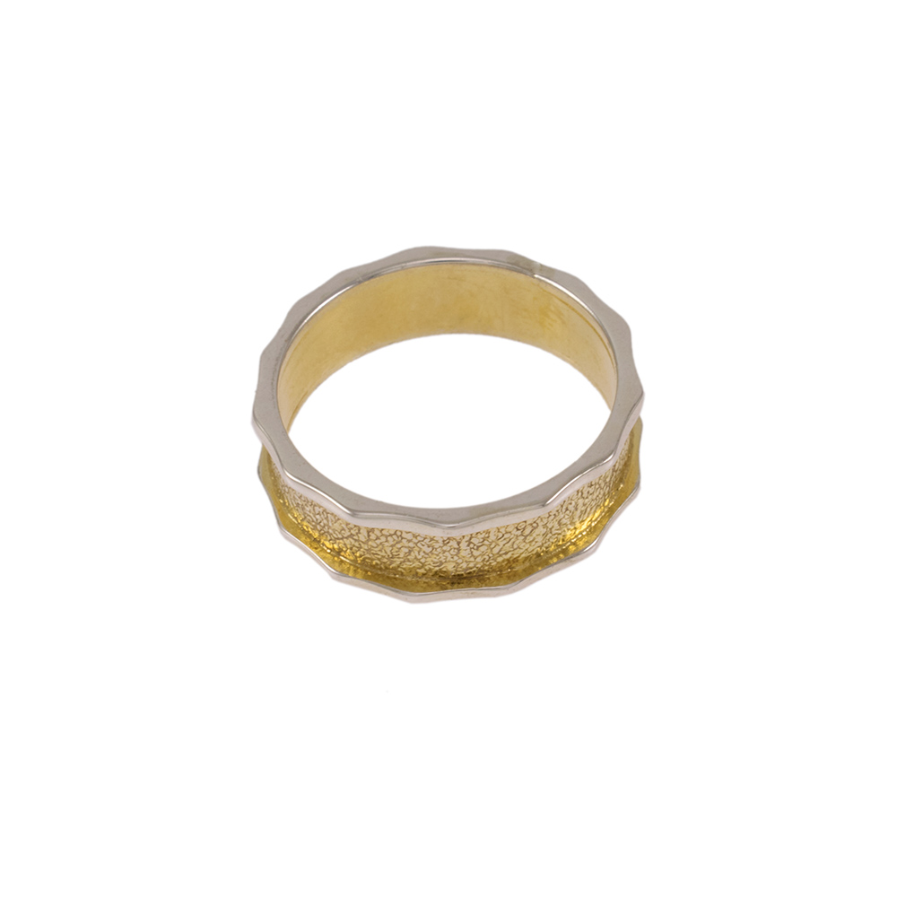 Wedding Ring double white and gold colour 14kt gold.
