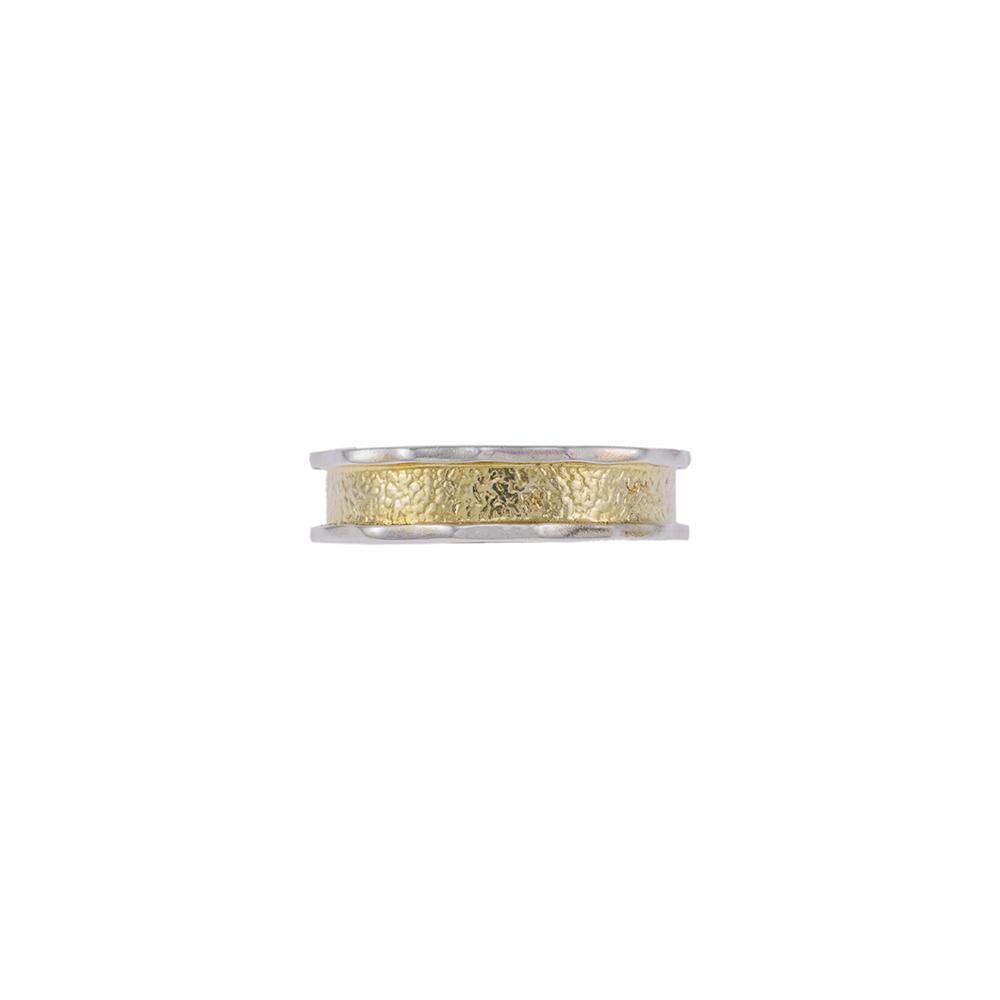 Βέρα διπλή, ματ και λουστρέ σε κίτρινο και λευκό χρυσό 14ΚΤ.
