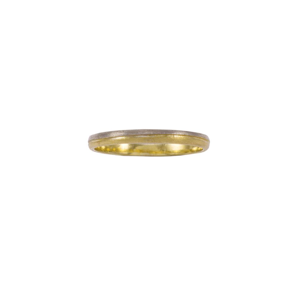 Βέρα διπλή, λευκό και κίτρινο χρυσό 14ΚΤ.